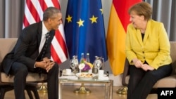 АҚШ президенті Барак Обама мен Германия канцлері Ангела Меркель. Ганновер, 24 сәуір 2016 жыл.