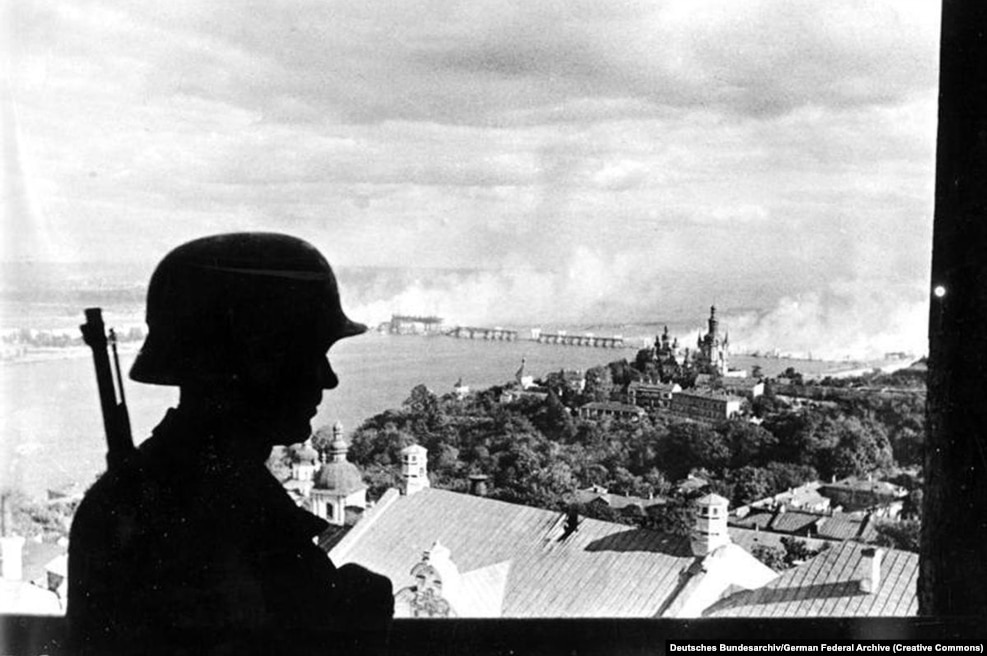 A Nazi sentry in Kyiv on September 19, 1941. In June of that year, after two years of neutrality between Germany and the Soviet Union, Nazi forces launched a surprise attack on the U.S.S.R. Within weeks, Nazi forces had overrun eastern Poland and other Soviet-occupied territories, as well as much of the Ukrainian S.S.R. and other Soviet republics.