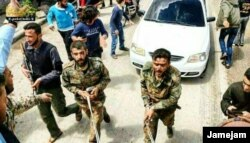 Another photo allegedly showing the captured Iranian personnel in Syria