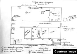 A sketch showing Maksim Lapunov's description of the layout of the cellar in which he was allegedly held captive and beaten by police in Chechnya.