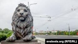 Фігураль льва на мосьце ў Магілёве працы скульптара Андрэя Вераб'ёва