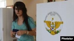 Nagorno-Karabakh - A voter at a polling station in Stepanakert, 19Jul2012.