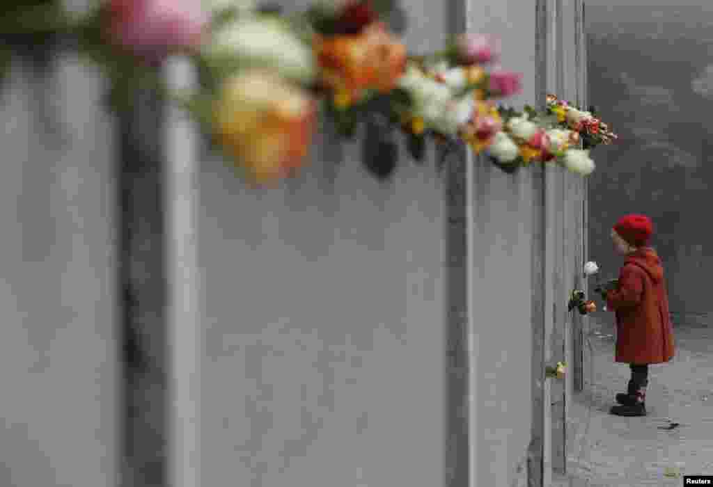 Тестиер кыз Бернаур штрасседе (Bernauer Strasse) Берлин дубалынын урагандыгынын 25 жылдыгына карата роза коюуда. 9-ноябрь. (Fabrizio Bensch, Reuters).