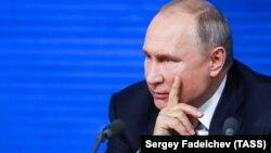 Владимир Путин во время пресс-конференции в Москве, 20 декабря 2018 год