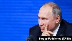 Президент России Владимир Путин во время большой ежегодной пресс-конференции. Москва, 20 декабря 2018 года.
