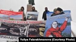 Пикет экологов в Казани против засыпки Волги