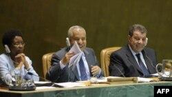 Ali Abdel-Salam al-Treki (center) pictured here at the UN in 2009.