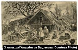 Вёска Таўкуны на Дзятлаўшчыне, травень 1916. Мастак і выдавец унтэр-афіцэр Ernst Walter
