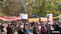 Қазақ тілі жанашырларының тілді қолдауға бағытталған митингісі. Алматы, 21 қыркүйек, 2008 жыл.