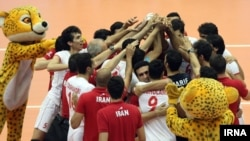 Iran -- Iranian national volleyball team won from their Polish guests 3-1 in their first of the four FIVB World League games. Tehran, June 27th 2014