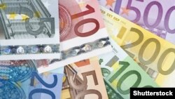 Illustration - European Union Currency. Group of euro banknotes