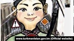 """Döwlet eýeçiligindäki """"Türkmenistan: Altyn asyr"""" habar saýtynda çap edilen karikaturada ýol belgilerinden gulakhalka we gülýaka dakynan zenan sürüji görkezilýär"""