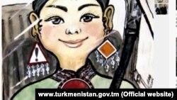 Карикатура с изображением женщины за рулем, опубликованная 1 апреля государственным информационным агентством Туркменистана ТДХ.
