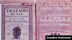 Копия Утрехтского договора 1713 года, по которому, в частности, Гибралтар достался Британии