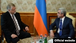 Armenia -- President Serzh Sarkisian meets with Herbert Salber, the EU's special representative for the South Caucasus, Yerevan, 30Jul2014