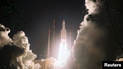 An Ariane 5 rocket blasts off in Kourou, French Guiana, 18Apr2008