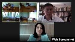 Кадр из трансляции с заседания по гражданскому иску бывшего акима Алматы Бауыржана Байбека к активисту Жанболату Мамаю. 14 июня 2021 года.