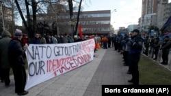 Kada Makedonija uđe u NATO biće obeshrabreni razni nacionalistički snovi u susednim zemljama (Foto: Protest protiv NATO-a i promene imena Makedonije, Skoplje, januar 2018)