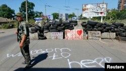 Ресейшіл сепаратист. Славянск, 1 шілде 2014 жыл.