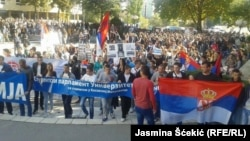Students protest against Kosovo's membership in UNESCO in the Kosovo Serb enclave of North Mitrovica on October 21.