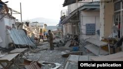 Нагорный Карабах - город Степанакерт после бомбежек, 31 октября 2020 г.