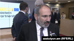 Brussels -- Armenian Prime Minister Nikol Pashinian speaks to RFE/RL in Brussels, May 14, 2019.