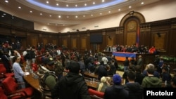 Protesters inside the Armenian parliament during the night of riots in Yerevan following the announcement of a Russian-brokered agreement with Azerbaijan to end the war in Nagorno-Karabakh. November 10, 2020.
