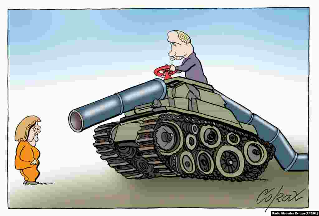 Ангела Меркель Русия газүткәргече каршында.