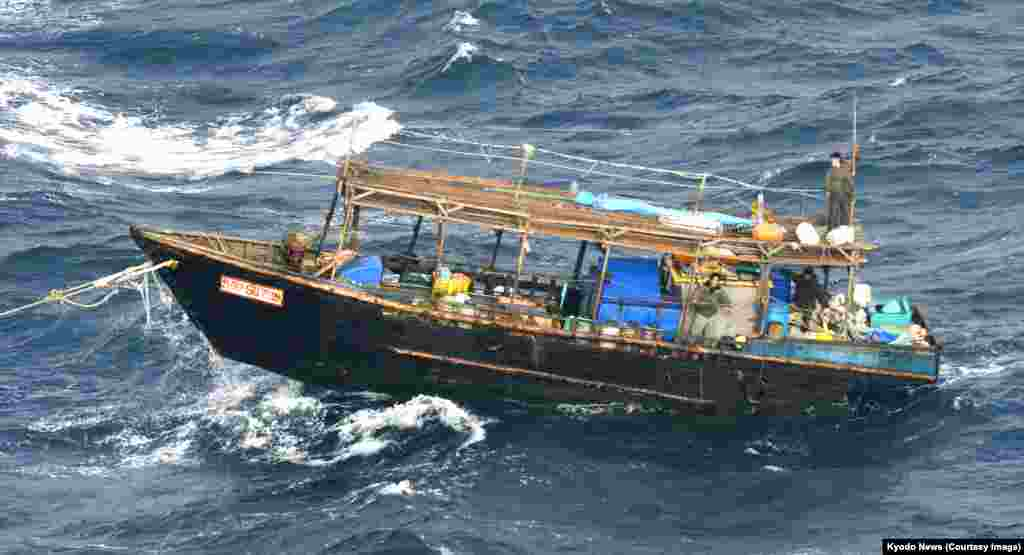 Fishing is a major industry in North Korea, but most of the country's deepwater vessels, like this one (pictured in the Sea of Japan in November 2017) are tragically underequipped.