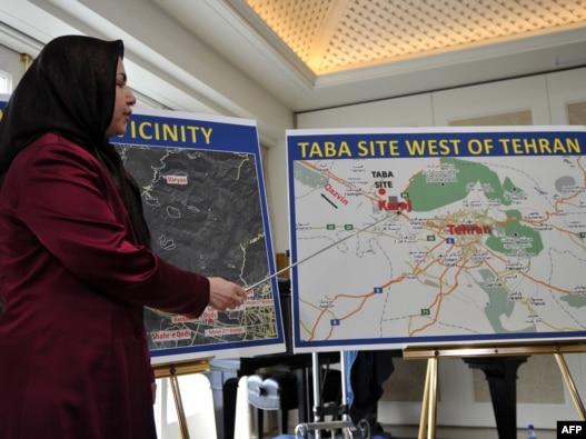 سونا صمصامی، سخنگوی سازمان مجاهدین خلق، در نشست خبری درباره کارخانه تابا در واشینگتن