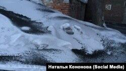 Копоть на снегу в алтайском городе Рубцовск