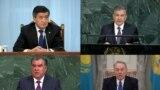 Gazagystanyň, Gyrgyzystanyň, Özbegistanyň we Täjigistanyň prezidentleriniň birleşdirilen suraty