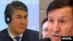 Асет Исекешев (слева), действующий глава администрации президента Казахстана, и его предшественник Адильбек Джаксыбеков.