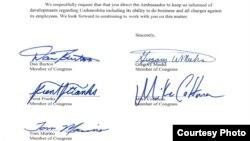 Президент Каримовга аталган мактубга АҚШ Конгресси вакиллари Дэн Бёртон, Грегори Микс, Трент Франкс, Том Марино ва Майк Гоффман имзо чекди.