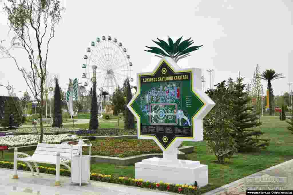 Элементы дизайна ташкентского парка напоминают архитектуру столицы Туркменистана