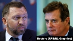 Oleg Deripaska (left) has denounced an AP report about his work with Paul Manafort, who resigned as Trump's campaign chairman in August 2016.