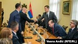 Përfaqësues të Listës Serbe, gjatë takimit me drejtorin e Zyrës për Kosovën të Qeverisë serbe, Marko Gjuriq. Beograd, 9 shtator, 2017