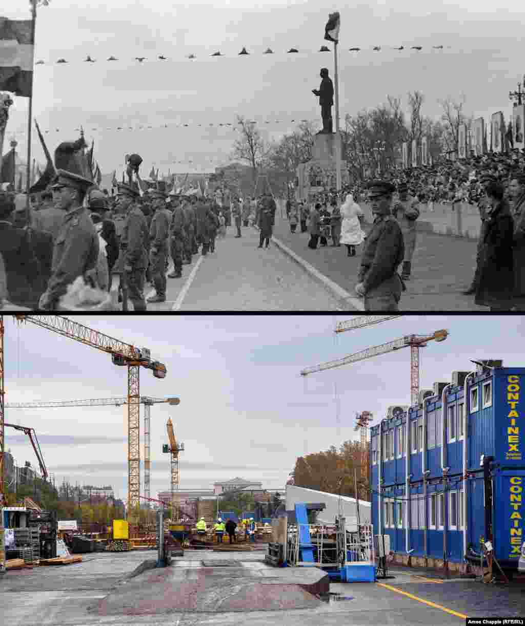 "Budapest 1956 - 2019 A 25-meter statue of Josef Stalin in Budapest (top) that communist officials called a ""gift"" to the dictator from the Hungarian people. The historic photo was shot five months before the monument was beheaded and dragged through the streets. In 2006, a sculpture commemorating the events of 1956 was built on the site. The memorial is just visible in the 2019 photo covered with a tarpaulin. The area is now undergoing a massive, contentious redevelopment.1956 photo: Fortepan/Adomanyazo"