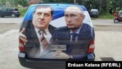 Milorad Dodik i Vladimir Putin na vozilu SNSD-a