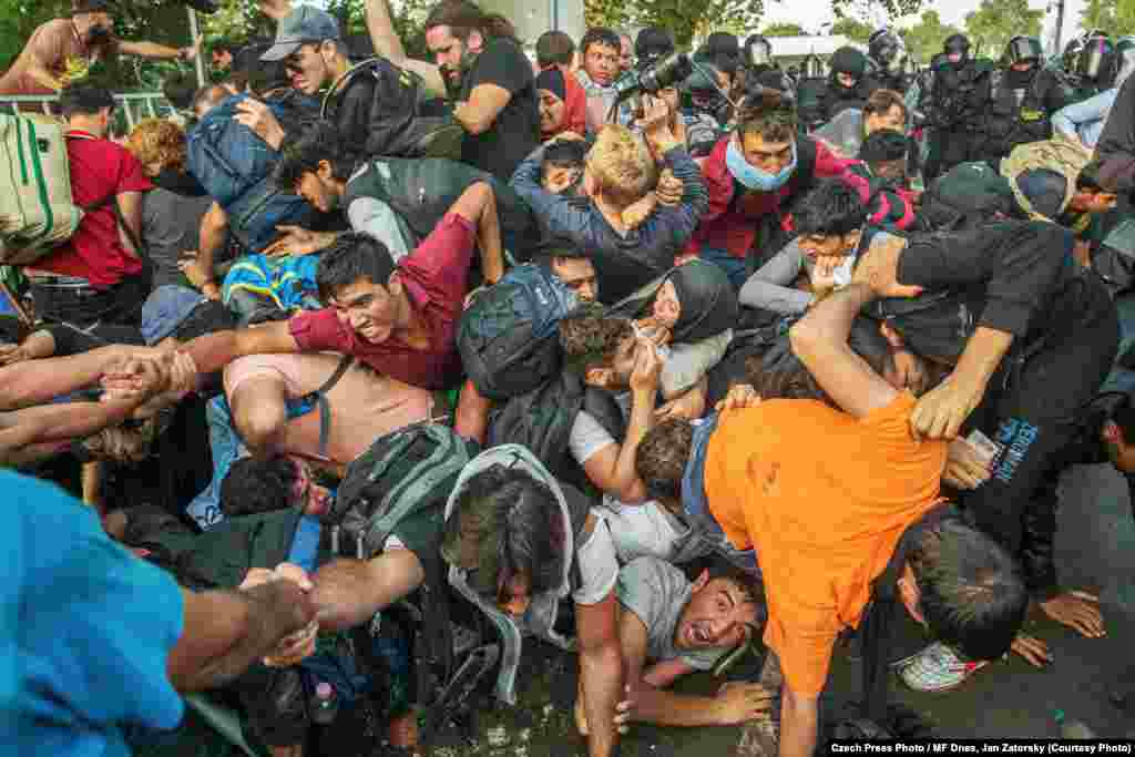 This photograph of refugees on the Hungary-Serbia border by Jan Zatorsky was named the winner of the Czech Press Photo Photograph of the Year contest for 2015.
