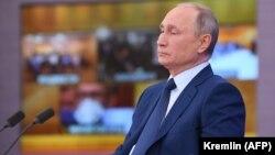 Руският президент Владимир Путин по време на редовната си годишна пресконференция. 17 декември 2020 г.