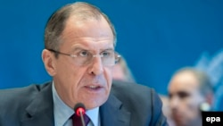 Russian Foreign Minister Sergei Lavrov at Syrian peace talks in Montreux, Switzerland, late last month.