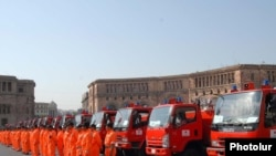 Armenia --The solemn donation ceremony of firefighting vehicles from the International Cooperation Agency of Japan to Rescue Service of Armenia. 11Aug2010