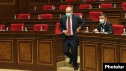 Armenia - Prime Minister Nikol Pashinian is about to speak during a session of the Armenian parliament, Yerevan, May 3, 2021.