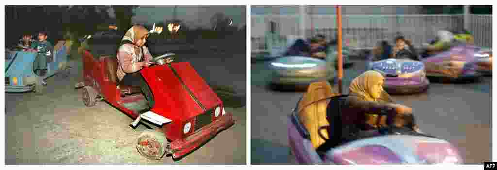 Left: A girl drives a makeshift bumper car on February 16, 1998, during the UN embargo imposed on Iraq. Right: A woman drives a bumper car at an amusement park on February 4, 2013.