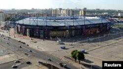 Fotografi nga ajri i stadiumit të ekipit Metalist në Kharkiv të Ukrainës, 21 Maj 2012