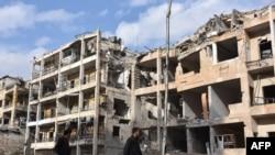 Согуштан кыйраган Сириянын Алеппо шаары.