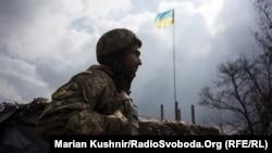 Крайній блок-пост українських військових на дорозі до Донецька, неподалік Авдіївки