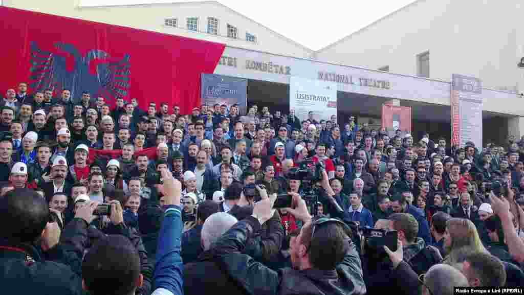 "Kosovo Albanians take part in a ""Mustache Men"" event to honor the whiskered independence leaders of 1912."