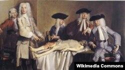 Карнэліс Трост. Анатамічная лекцыя доктара Вілема Роэла, 1728